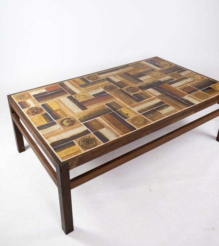 Ceramic Coffee Table in Rosewood and Dark Tiles, Designed by Tue Poulsen from the 1970s For Sale