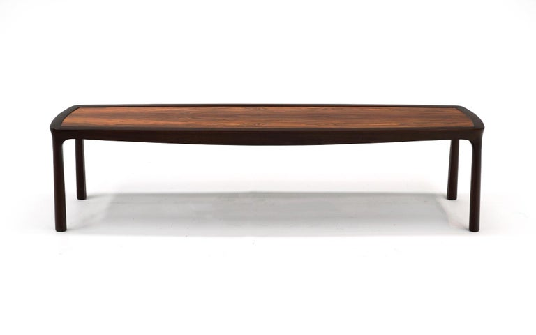 American Coffee Table in Rosewood and Mahogany by Edward Wormley for Dunbar, Signed For Sale
