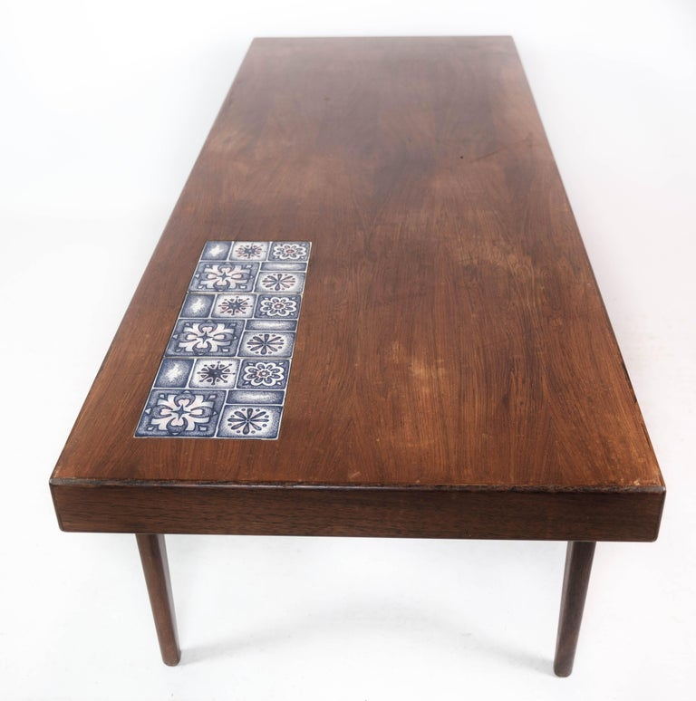 Coffee Table in Rosewood with Blue Tiles by Johannes Andersen, 1960s For Sale 3