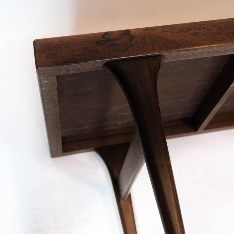 Coffee Table in Rosewood with Blue Tiles by Johannes Andersen, 1960s For Sale 7