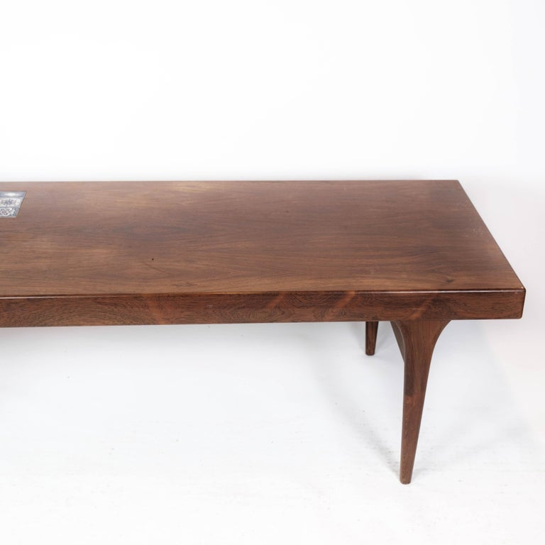 Scandinavian Modern Coffee Table in Rosewood with Blue Tiles by Johannes Andersen, 1960s For Sale