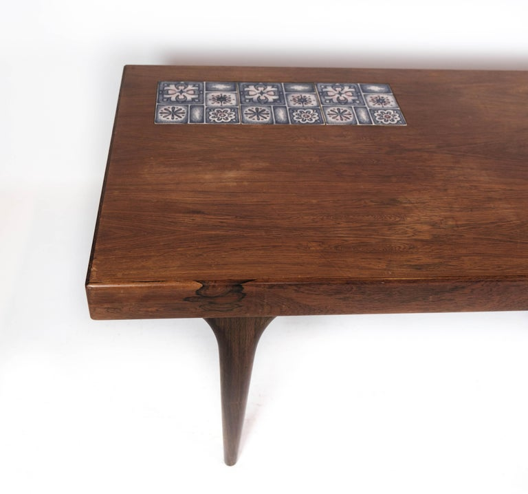 Danish Coffee Table in Rosewood with Blue Tiles by Johannes Andersen, 1960s For Sale