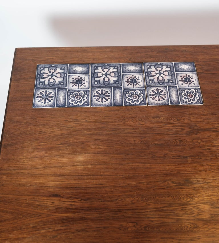 Coffee Table in Rosewood with Blue Tiles by Johannes Andersen, 1960s In Good Condition For Sale In Lejre, DK