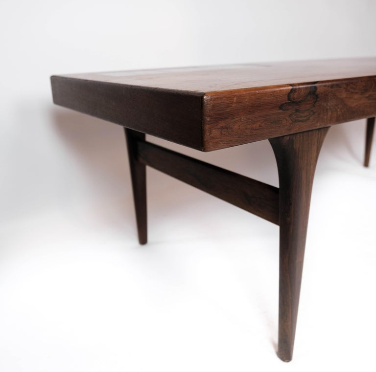 Mid-20th Century Coffee Table in Rosewood with Blue Tiles by Johannes Andersen, 1960s For Sale