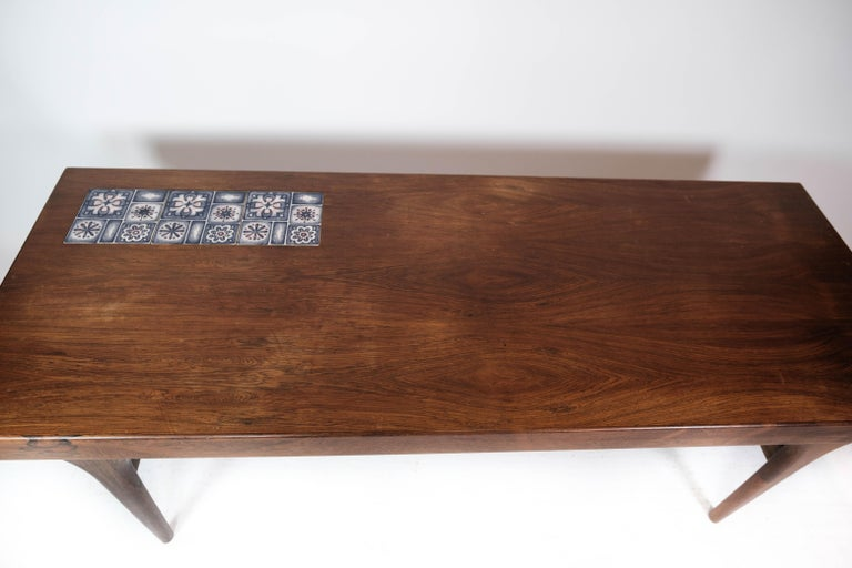Ceramic Coffee Table in Rosewood with Blue Tiles by Johannes Andersen, 1960s For Sale