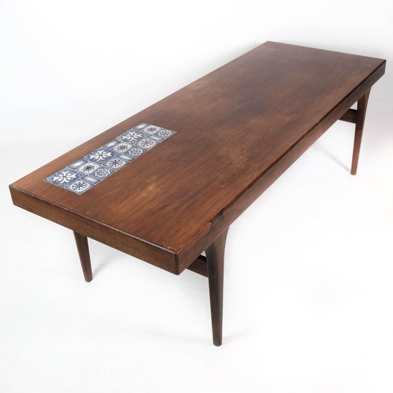 Coffee Table in Rosewood with Blue Tiles by Johannes Andersen, 1960s For Sale 1