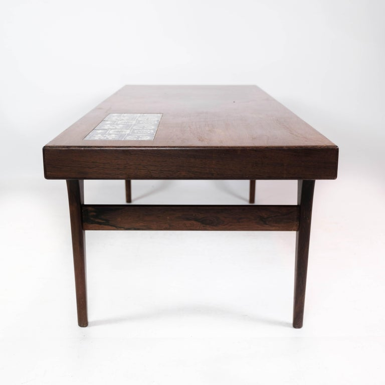 Coffee Table in Rosewood with Blue Tiles by Johannes Andersen, 1960s For Sale 2