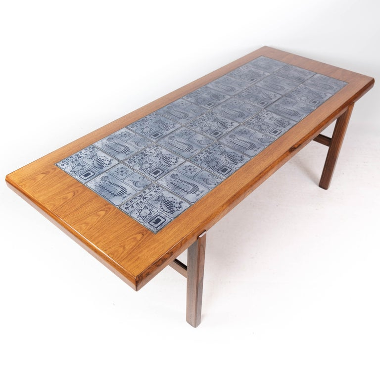 Coffee Table in Rosewood with Blue Tiles of Danish Design by Arrebo, 1960s For Sale 4
