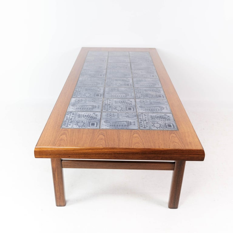 Coffee Table in Rosewood with Blue Tiles of Danish Design by Arrebo, 1960s For Sale 6