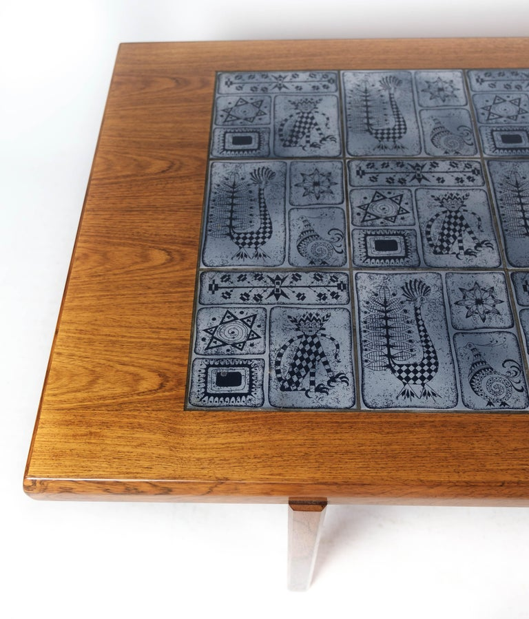 Scandinavian Modern Coffee Table in Rosewood with Blue Tiles of Danish Design by Arrebo, 1960s For Sale