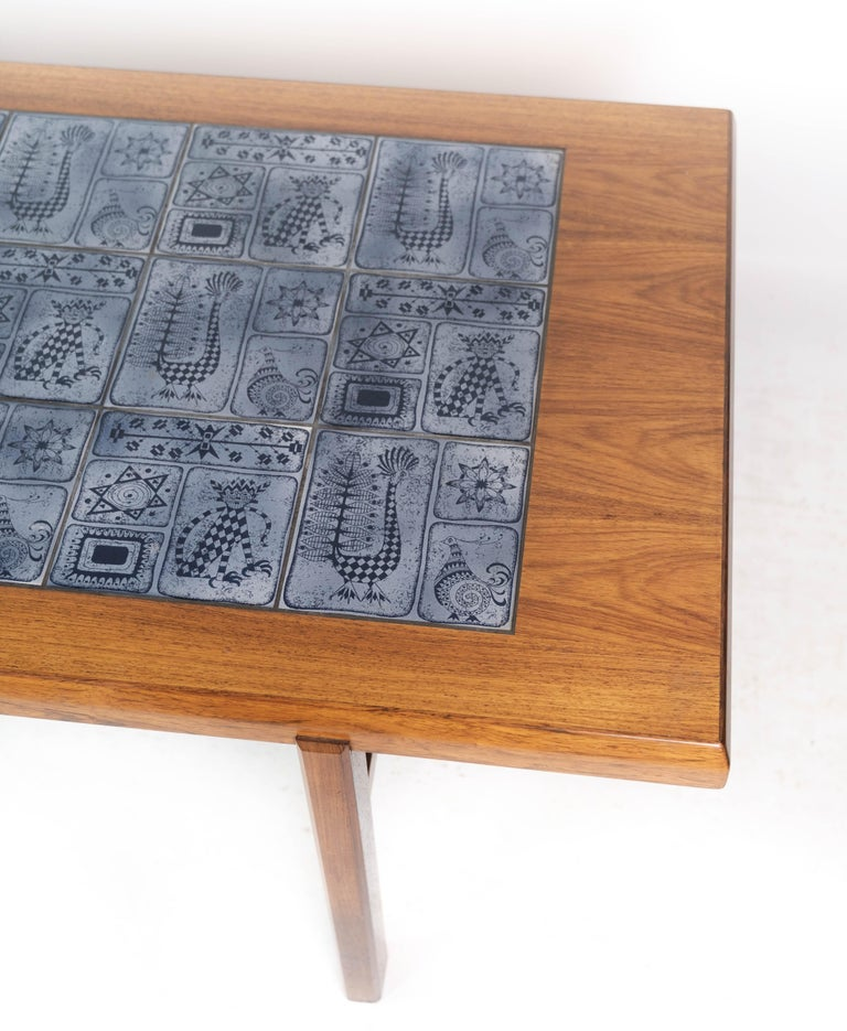Coffee Table in Rosewood with Blue Tiles of Danish Design by Arrebo, 1960s In Good Condition For Sale In Lejre, DK