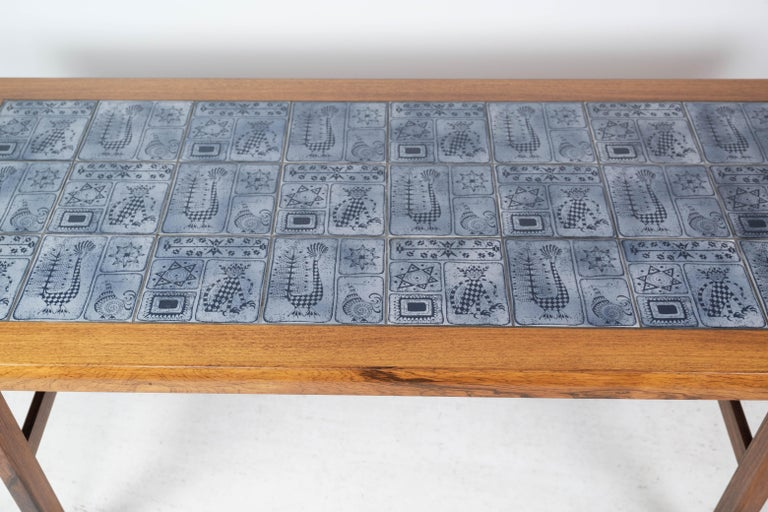 Mid-20th Century Coffee Table in Rosewood with Blue Tiles of Danish Design by Arrebo, 1960s For Sale
