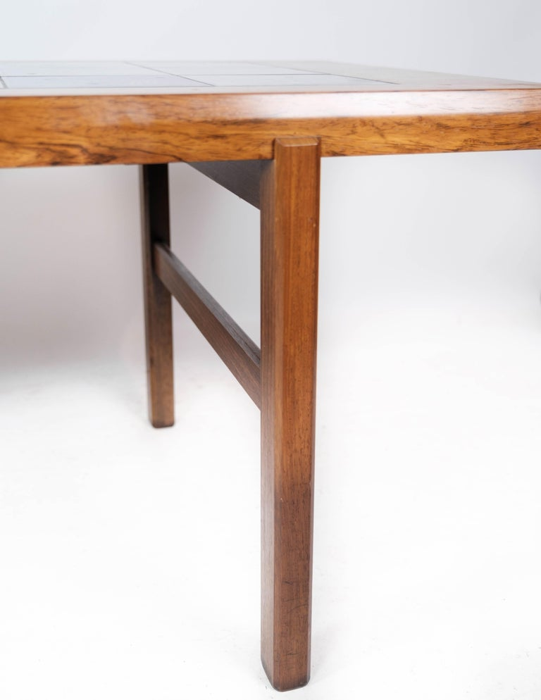 Ceramic Coffee Table in Rosewood with Blue Tiles of Danish Design by Arrebo, 1960s For Sale