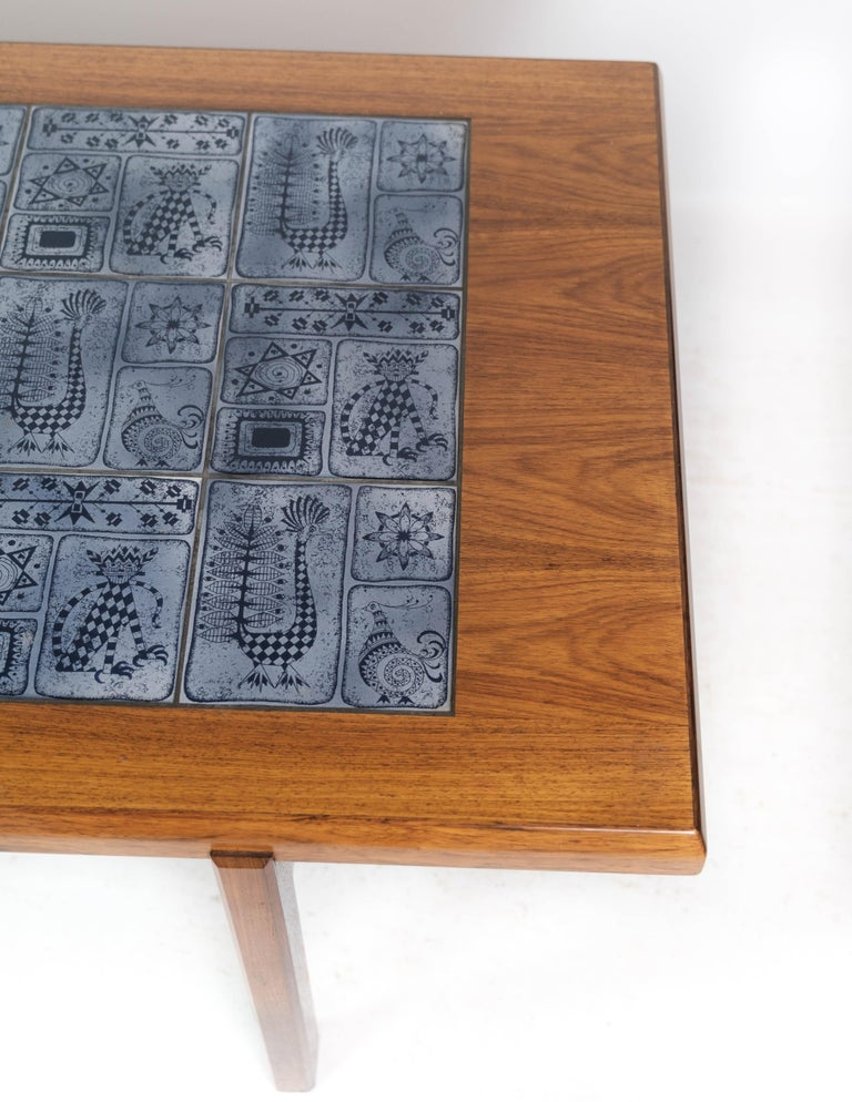 Coffee Table in Rosewood with Blue Tiles of Danish Design by Arrebo, 1960s For Sale 1