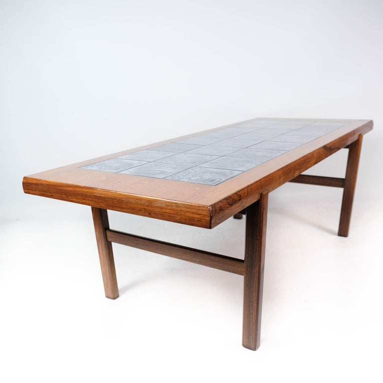 Coffee Table in Rosewood with Blue Tiles of Danish Design by Arrebo, 1960s For Sale 3