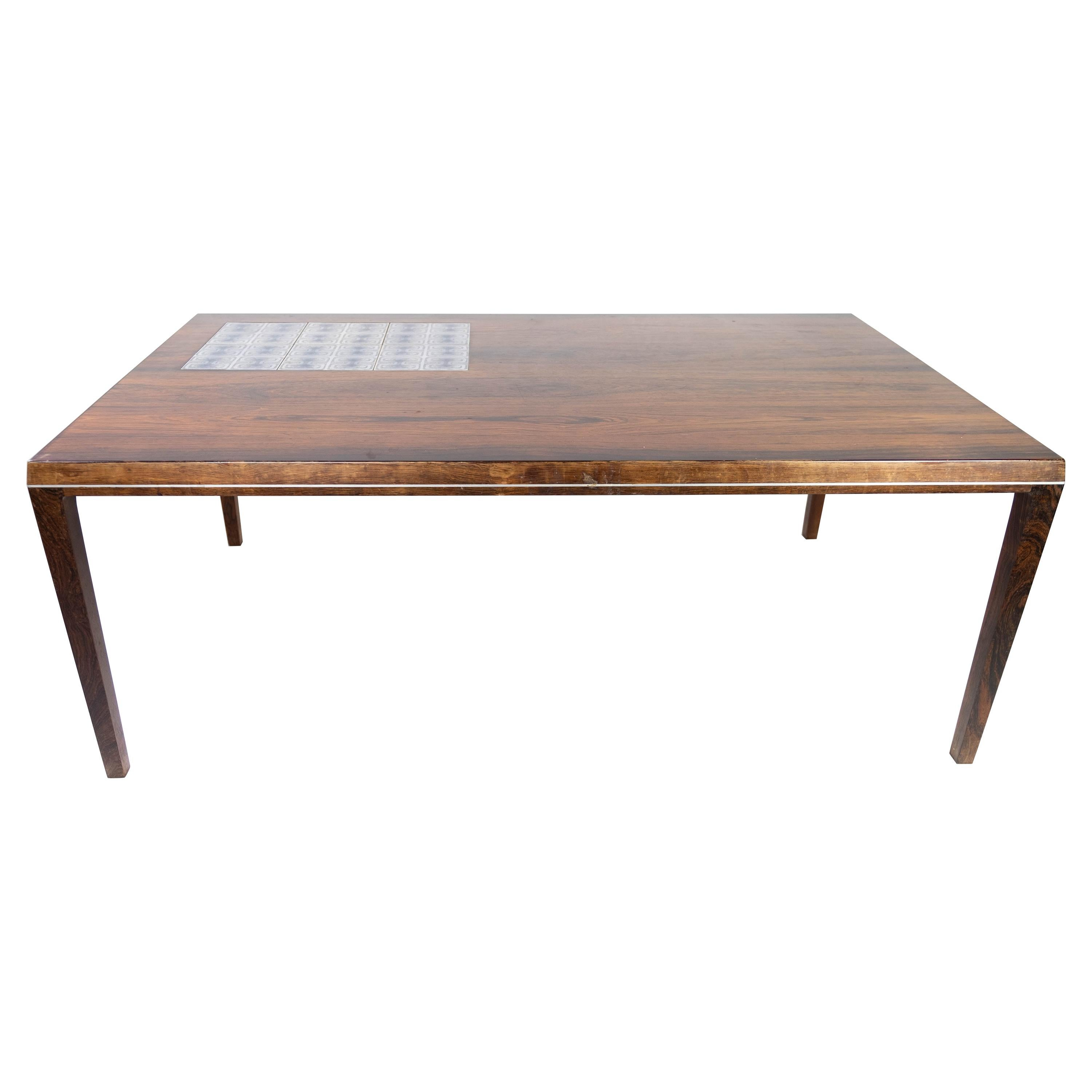 Coffee Table in Rosewood with Tiles, Designed by Johannes Andersen, 1960s