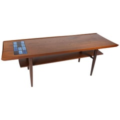 Coffee Table in Teak with Blue Tiles of Danish Design from the 1960s