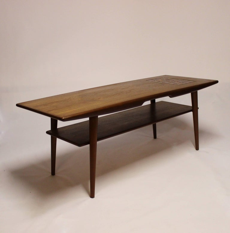 Coffee Table in Teak with Tiles in Dark Colors of Danish ...