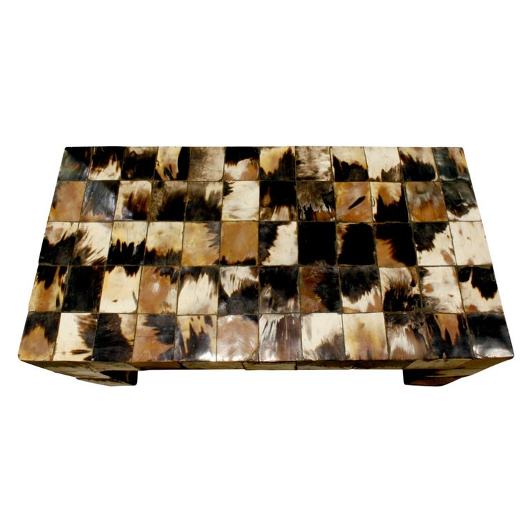 Mid-Century Modern Coffee Table in Tessellated Horn, 1970s For Sale
