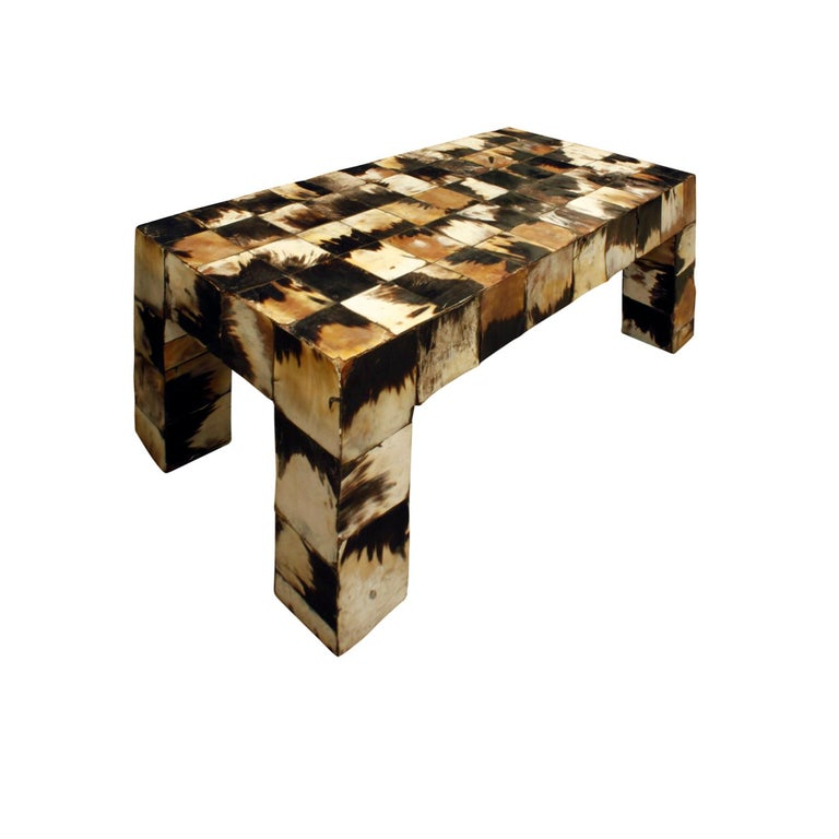 American Coffee Table in Tessellated Horn, 1970s For Sale