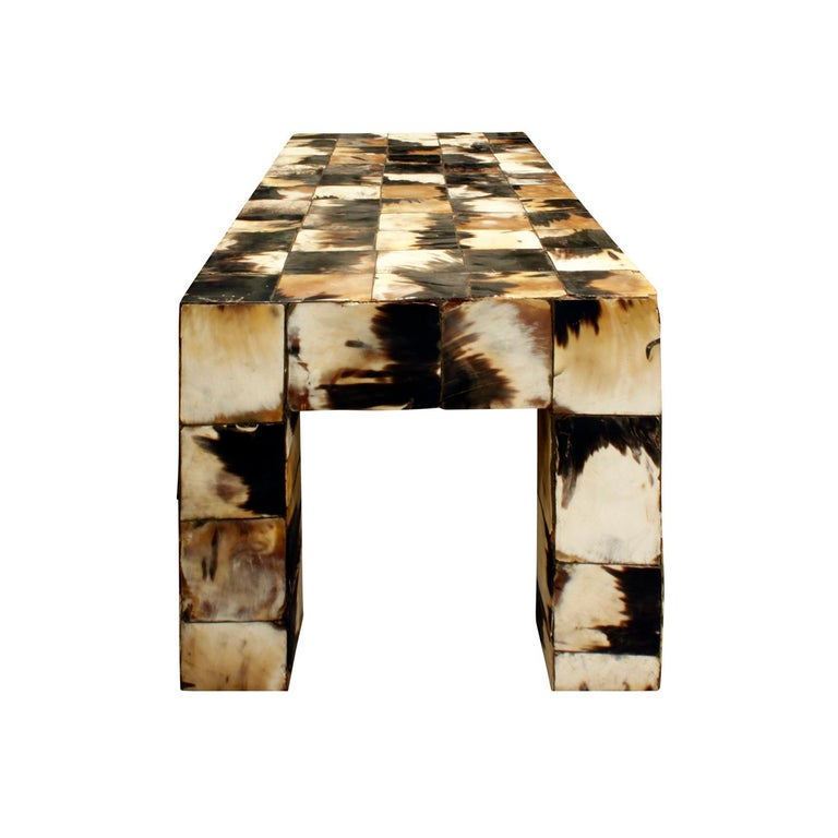 Hand-Crafted Coffee Table in Tessellated Horn, 1970s For Sale