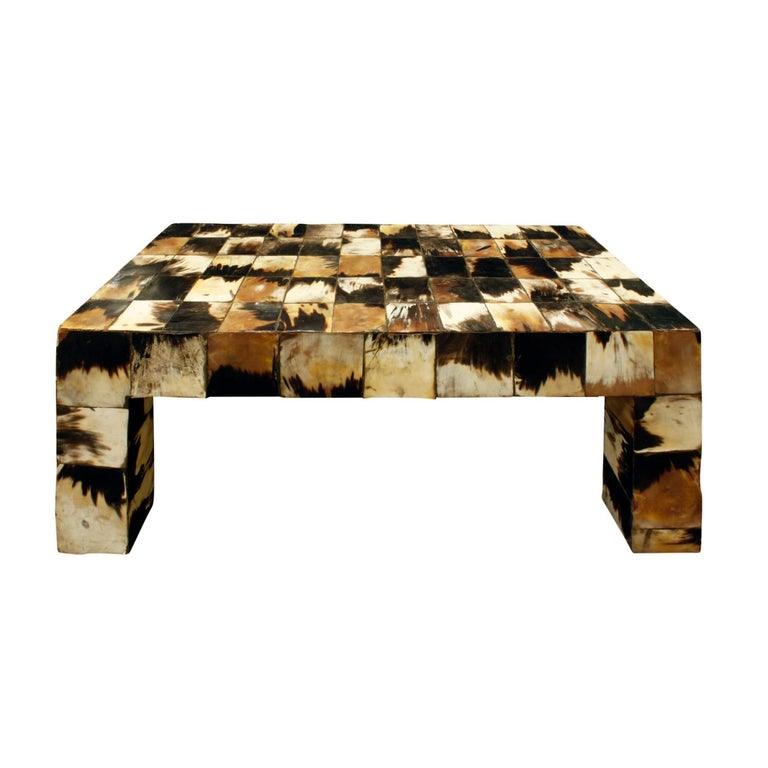 Coffee Table in Tessellated Horn, 1970s For Sale