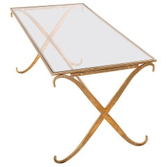 Coffee Table in the Manner of Maison Ramsay, in Hammered Guilt Metal France 1950