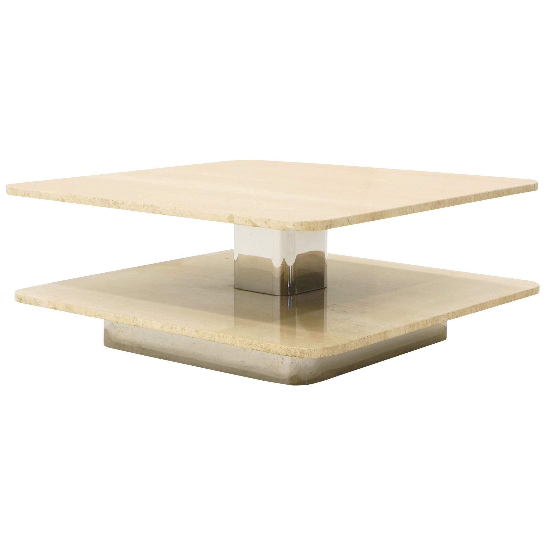 Coffee Table in the Style of Harvey Probber, Two-Tier Square Travertine Tops