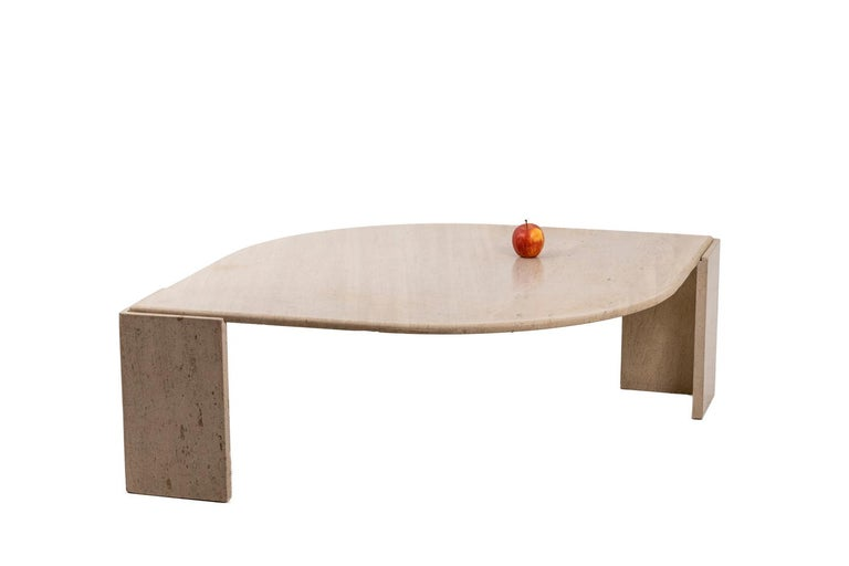 Coffee Table in Travertine, 1970s For Sale 3