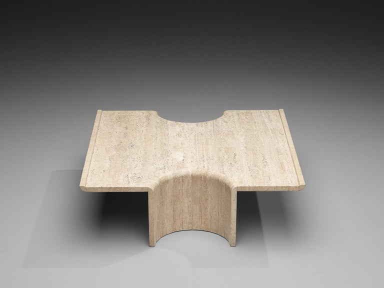Mid-Century Modern Coffee Table in Travertine For Sale