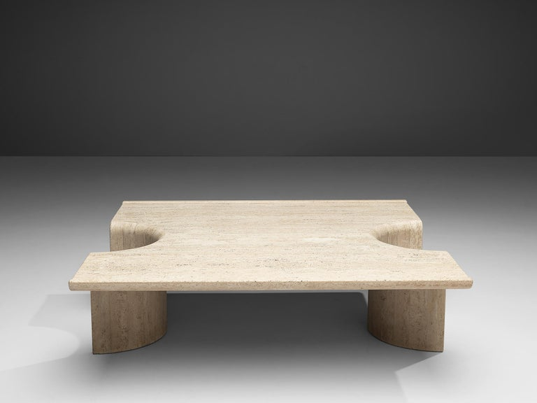 European Coffee Table in Travertine For Sale