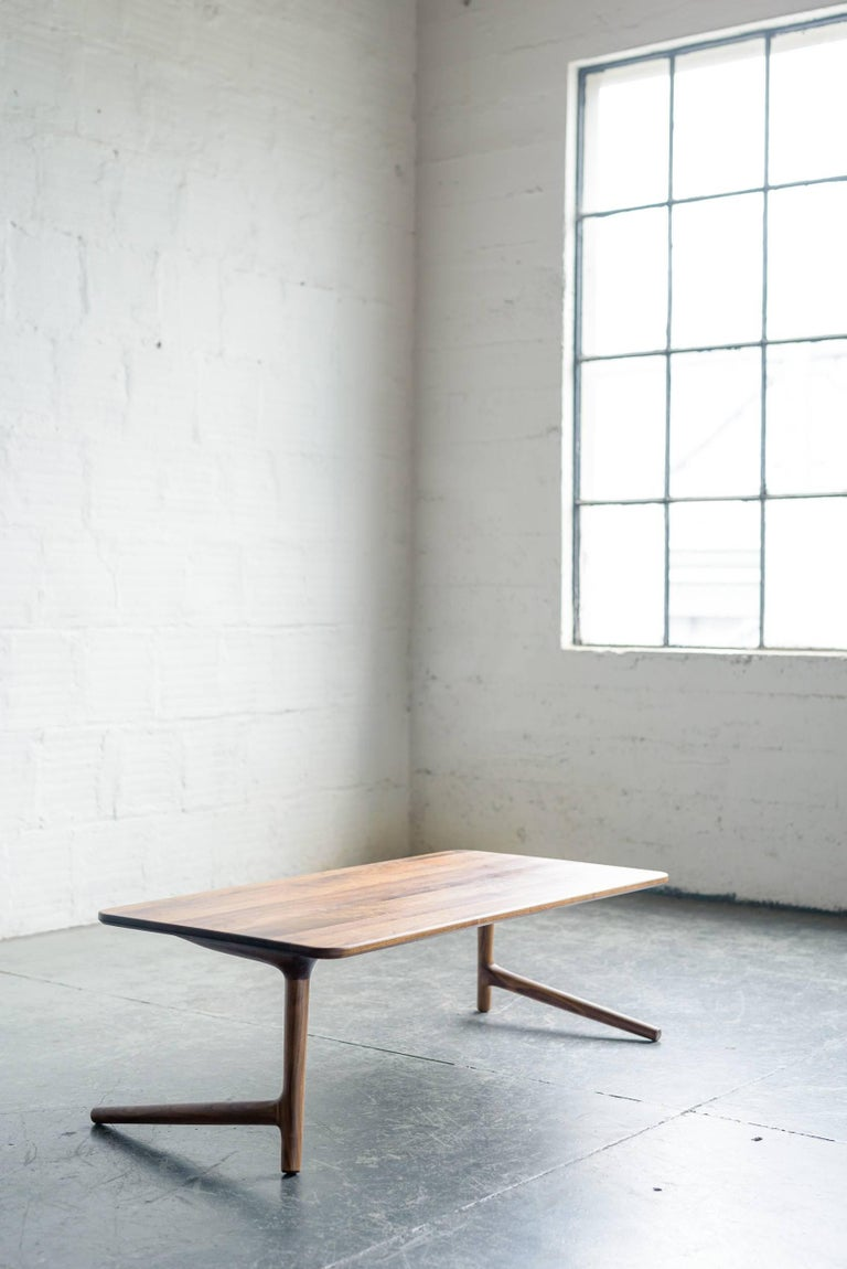Hand-Carved Minimal Coffee Table made from Walnut Wood, by Fernweh Woodworking For Sale