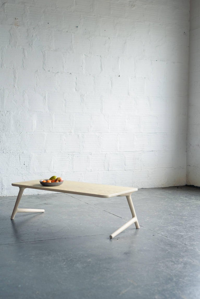 American Modern Coffee Tea Table in White Ash, by Fernweh Woodworking For Sale