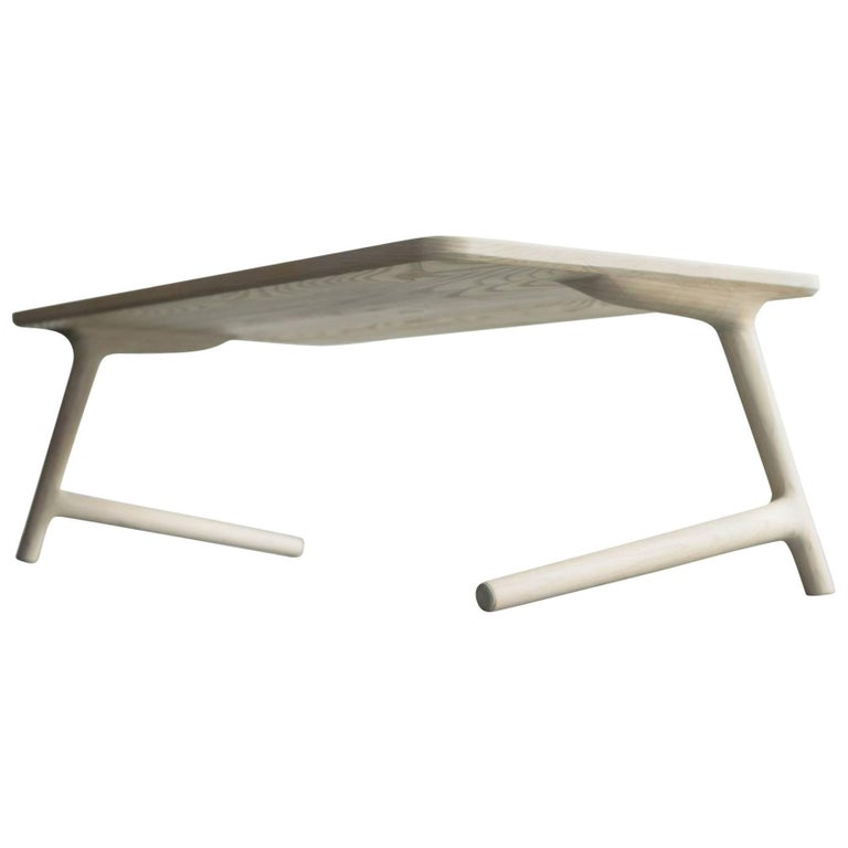 Modern Coffee Tea Table in White Ash, by Fernweh Woodworking For Sale