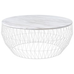 Coffee Table in White with White Marble Top by Bend Goods