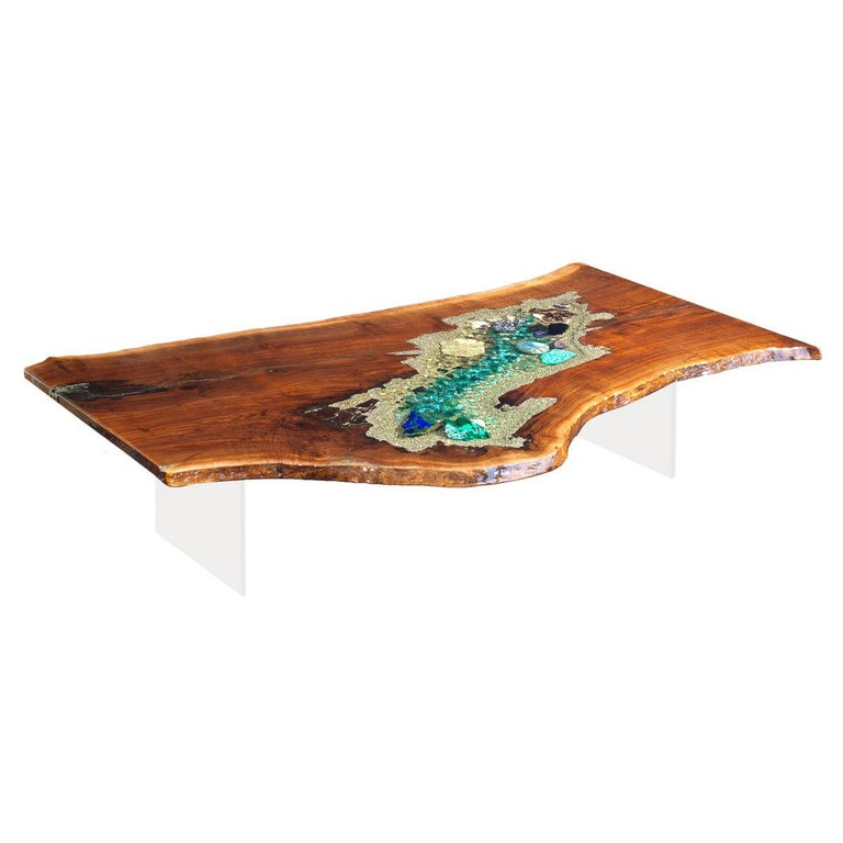 Walnut wood coffee table with crystal and gemstone inlay For Sale