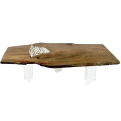 Elm wood coffee table with crystal inlay