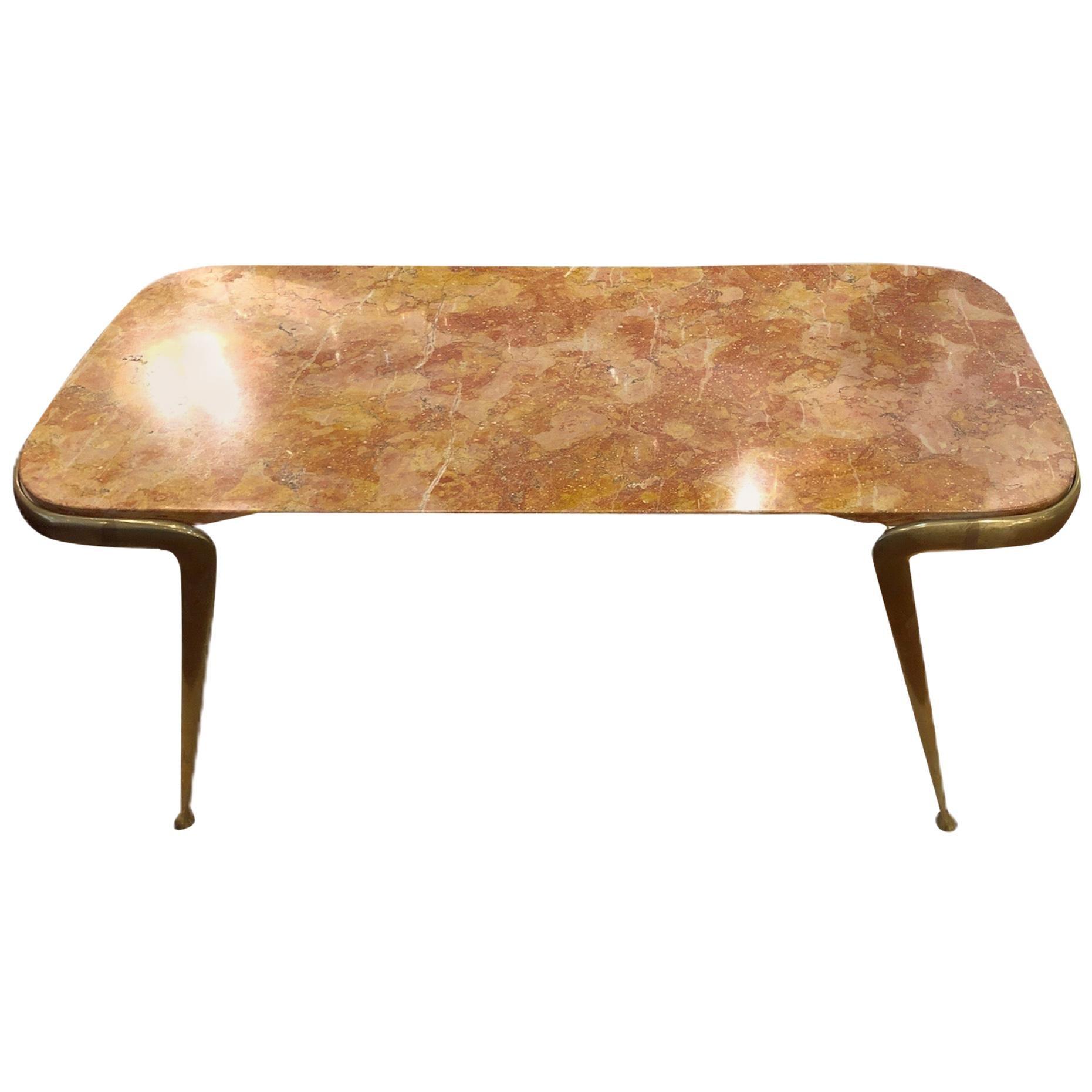 Coffee Table Italian 1960 Breccia Marble and Brass