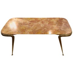 Coffee Table Italian 1960 Breccia Marble and Brass