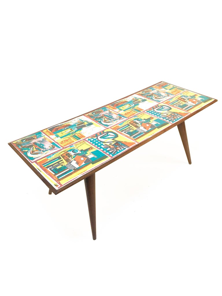 Mid-Century Modern  Low coffee table for living room. Printed wood. Attributable to De Poli Italy  For Sale