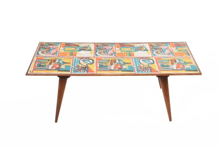 Laminated  Low coffee table for living room. Printed wood. Attributable to De Poli Italy  For Sale