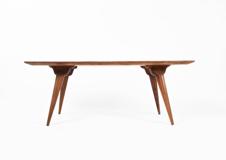 Mid-20th Century  Low coffee table for living room. Printed wood. Attributable to De Poli Italy  For Sale