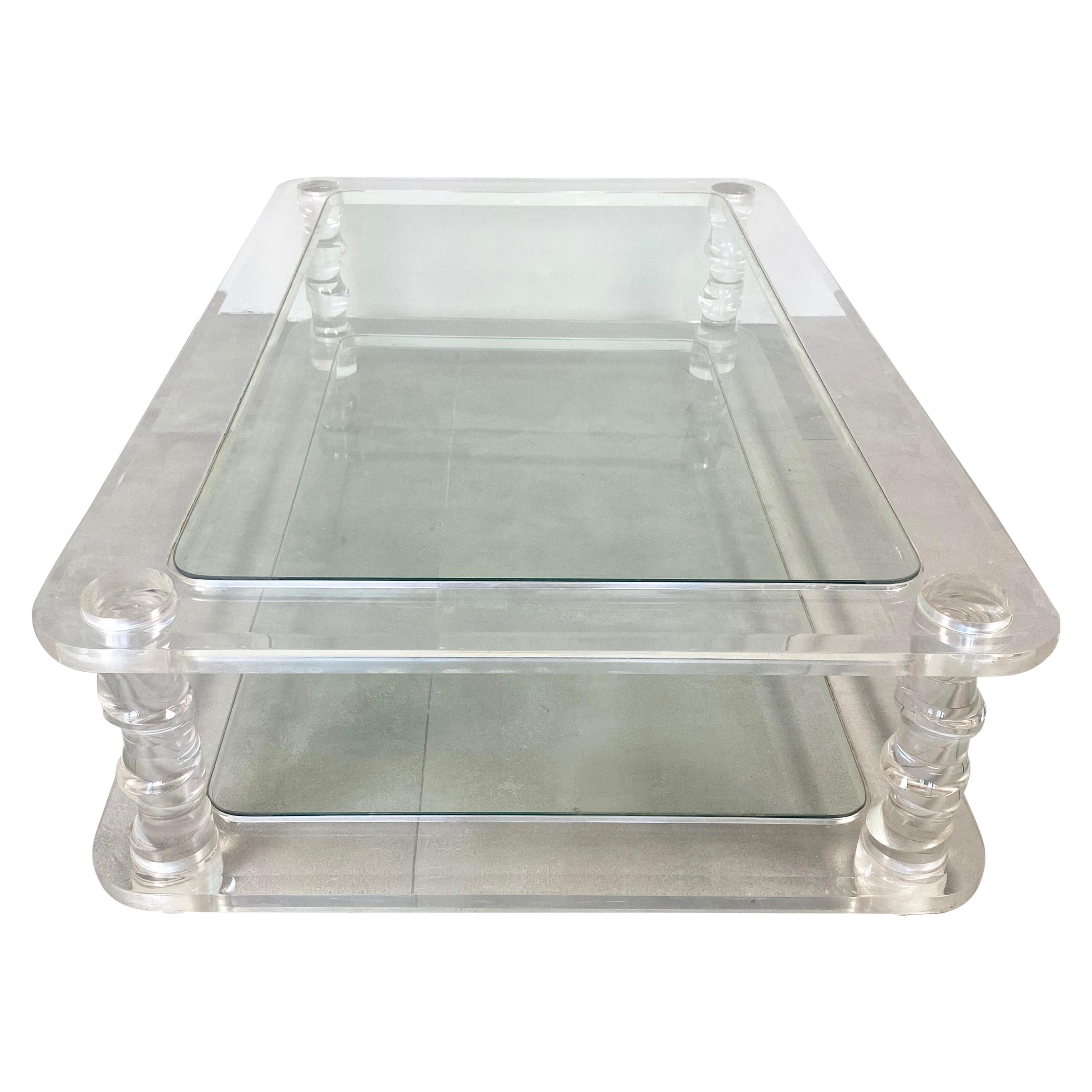 Coffee Table Lucite and Glass Maison Romeo, France, 1970s