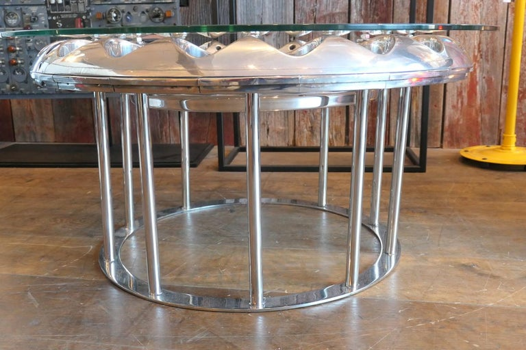 Coffee Table Made from an Engine's Aircraft Crown of Injectors 3