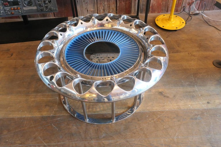 Coffee Table Made from an Engine's Aircraft Crown of Injectors 4