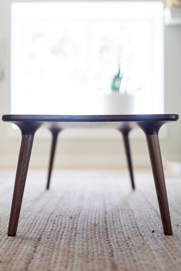 Contemporary Coffee Accent Table handmade from Walnut Wood, by Fernweh Woodworking For Sale