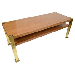 Coffee Table Made in Italy in the 1970s Brass Legs and Wooden Top and Shelf