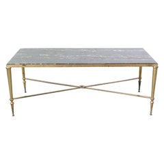 Coffee Table Maison Jansen Midcentury Black Marble and Gilt Brass Edge Base