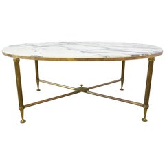 Coffee Table Maison Jansen Midcentury Marble and Gilt Brass Edge Base