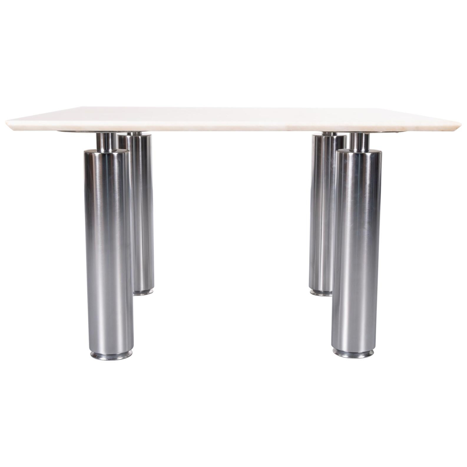 Coffee Table Marble and Steel, 1980s, Italy